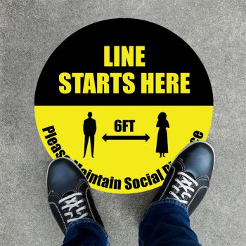 Line Starts Here Round Social Distancing Stickers