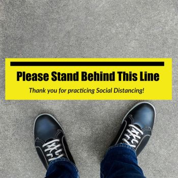 Stand Behind This Line Rectangle Social Distancing Stickers